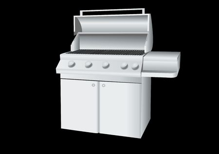 gas barbecue: stainless steel barbecue illustration on black