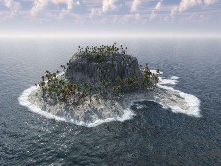 Island in ocean 3d illustration