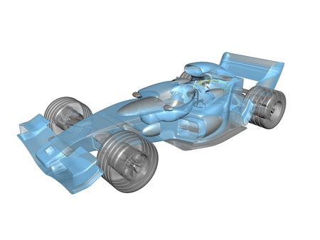 indy cars: 3D transparent race car on white background
