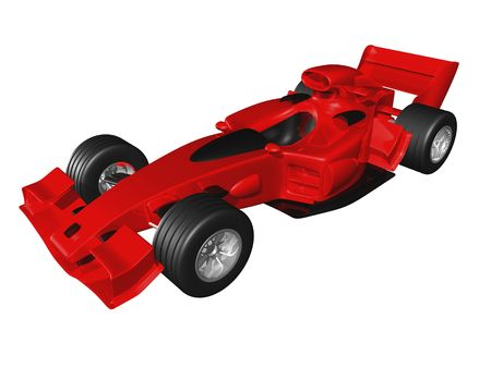 indy: Red 3D race car side view on white background