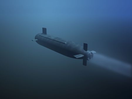 3D submarine under water rear view Stock Photo