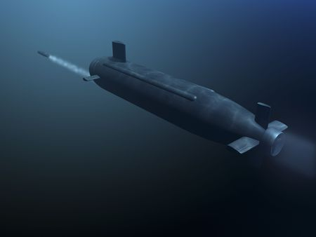 3D submarine shooting missle rear view Stock Photo