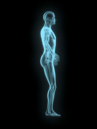 blue background: X-ray of man 3d side view blue on black background