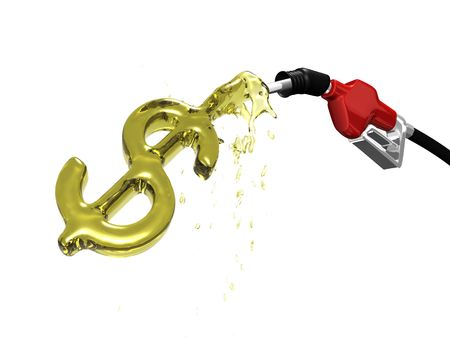 Gas pump over filling a dollar sign 3D Stock Photo
