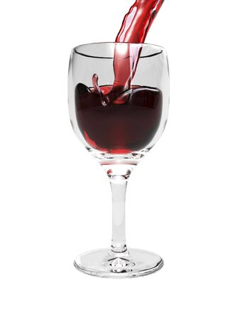 Wine pouring into glass on white background