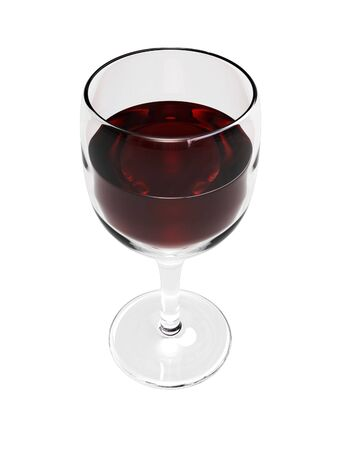 3D Wine Glass with wine on a white background