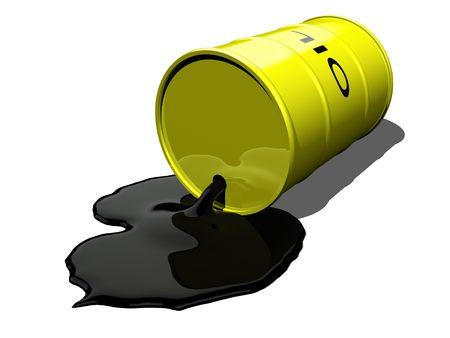 oil barrel: Tambor de aceite derramar aceite  Foto de archivo