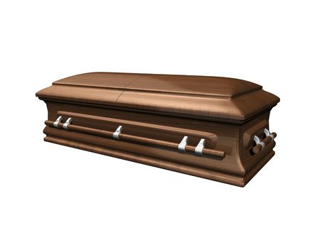 morbid: Casket side view on white background 3D.