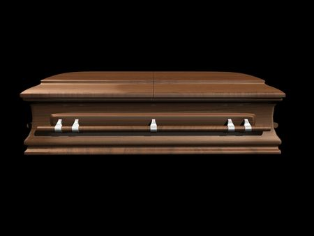 coffin side view on black background - 3D. Stock Photo