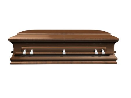 coffin side view on white background - 3D.
