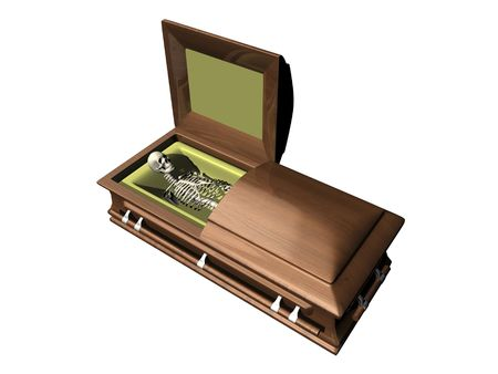 Skeleton in casket on white background - 3D.