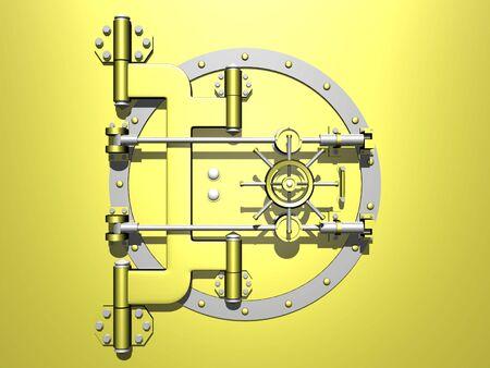 Golden vault with door closed. 3D image.