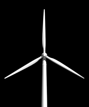 Wind turbine on black background front view 3D image Фото со стока