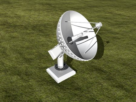 white satellite dish in grass 3D image