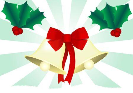 Kerst bel met hulst illustratie.