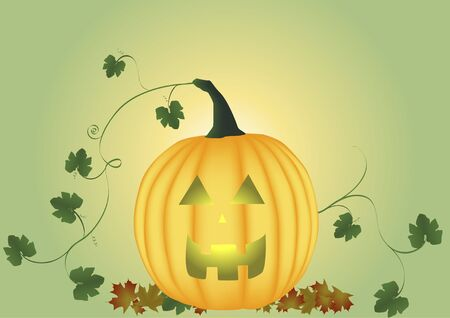 Carved pumpkin with leaves and vine Stock Photo - 3539067