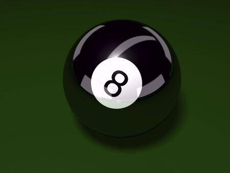 3D eight ball on felt background