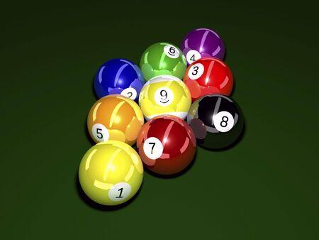 felt: Pool balls on felt background 3D illustration Stock Photo