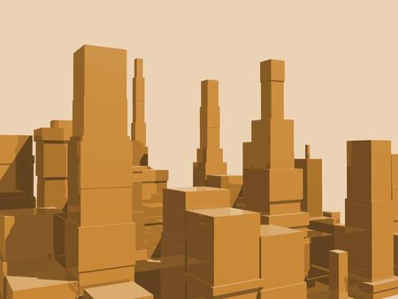 reflection: 3D abstract city in orange with reflection. Stock Photo