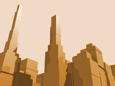 3D abstract city in orange eith reflection. Banco de Imagens