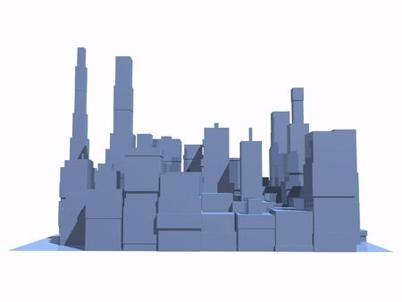 3D abstract city in blue with reflection.