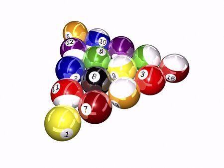 Pool balls on white background 3D illustration Stock fotó