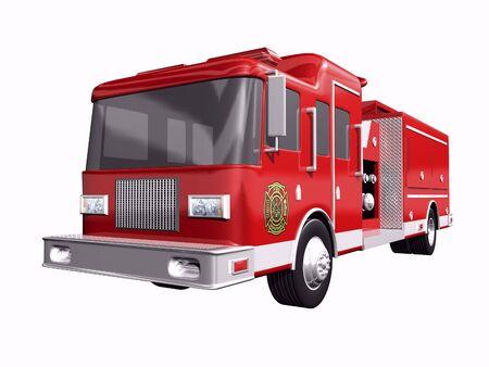 coche de bomberos: Cami�n de bomberos en el fondo blanco