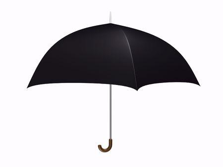devise: Black umbrella on white background