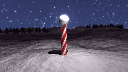 3D North Pole illustration with snow and stars