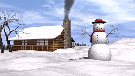 3D illustration of a snowman in the yard