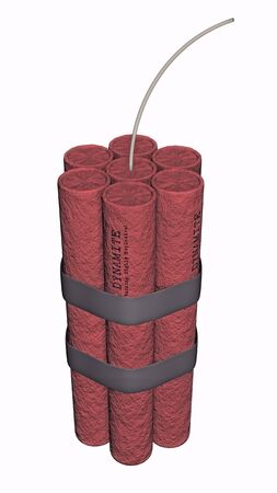 3D illustration of dynamite on a white background