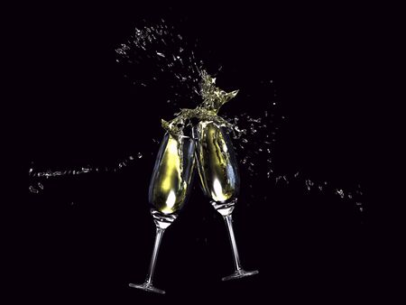 champagne toast: 3D illustration of wine glasses tapping on black background Stock Photo