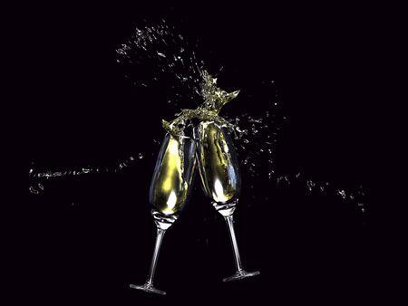 brindisi champagne: Illustrazione 3D di bicchieri di vino toccando su sfondo nero