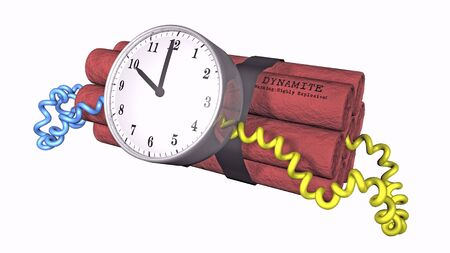 3D illustration of a time bomb on white background