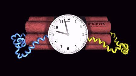 3D illustration of a time bomb on black background 版權商用圖片