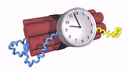 3D illustration of a time bomb on white background illustration
