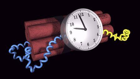 3D illustration of a time bomb on black background illustration