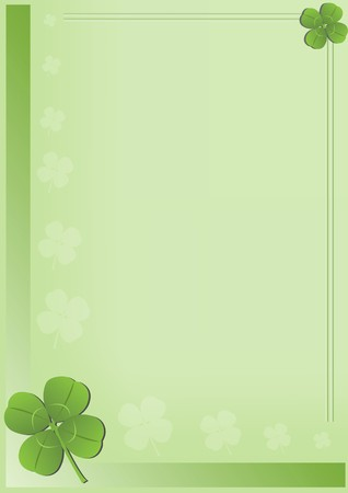 Saint Patricks Day background with four leaf clover illustration Stock Photo