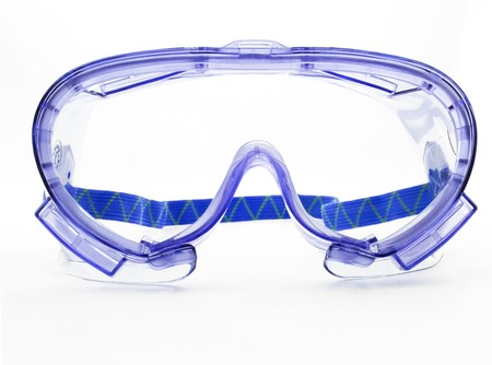 Purple goggles on a white background with strap