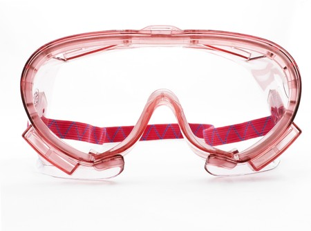Red goggles with strap on a white background