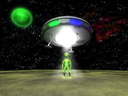 green planet: 3D Alien avec un OVNI sur la plan�te verte Banque d'images