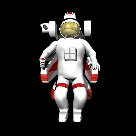 booster: Astronaut in booster pack on black background