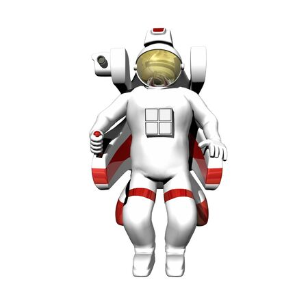 booster: Astronaut in booster pack on a white background