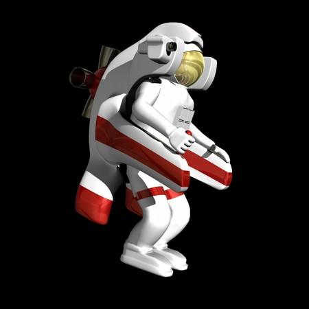 黒の背景にジェット パックと宇宙飛行士