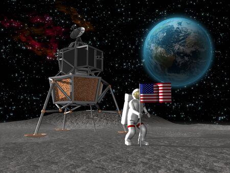 Astronaut aanplantrechten Amerikaanse vlag op de maan