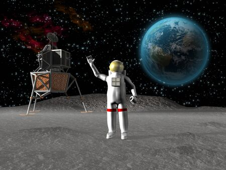 surface: Astronaut waving on the moon with earth