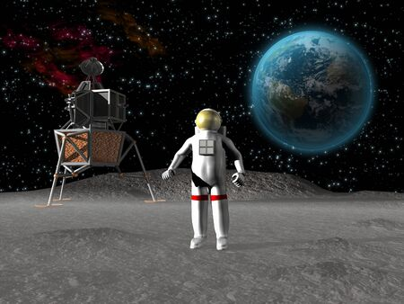 Astronaut on the moon with earth in background Stock fotó