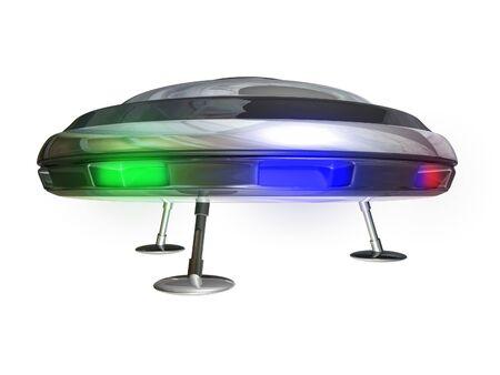 UFO on a white background 3D illustration