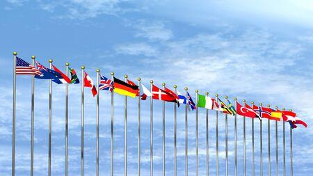 banderas del mundo: Banderas mundo en un cielo de fondo Foto de archivo
