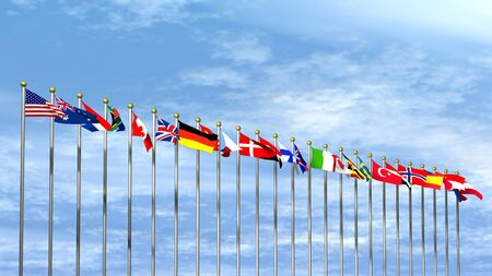 World Flags over een Sky Achtergrond